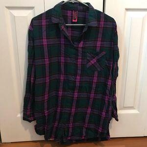 La Senza Plaid Button-Up Sleepshirt